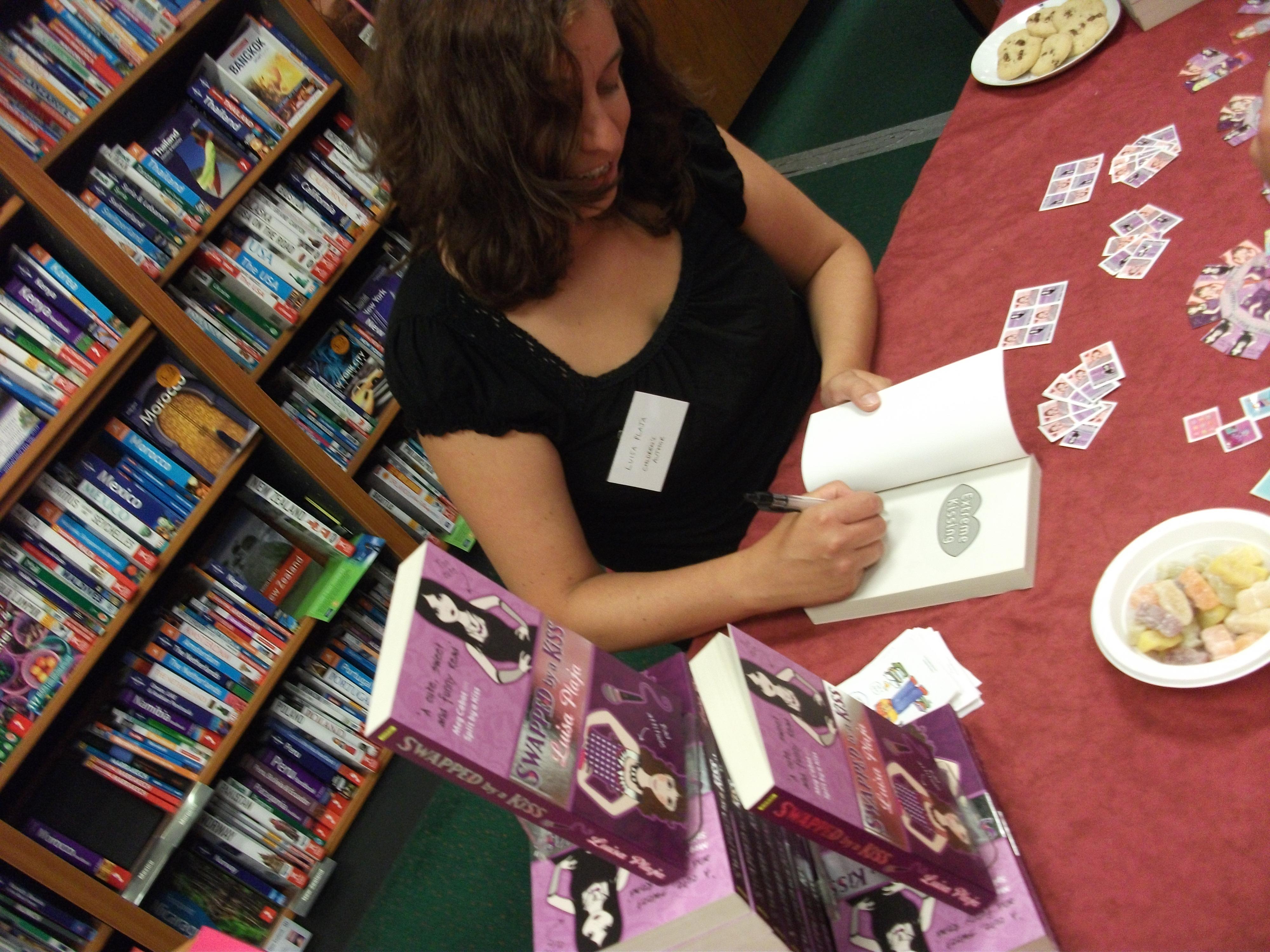 Luisa Plaja signing at Waterstone's